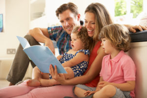 Happy Family Reading Together